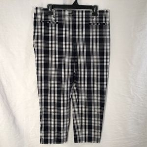 Ann Taylor 10 Cropped Pants Black Checkered 610